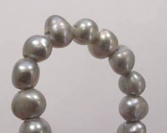 6-7mm Large Hole Gray Freshwater Pearl Nuggets Beads, Hole Size 1.8mm Natural Freshwater Pearls, Large Hole Gray Pearl Nuggets(15-LHNGY0607)