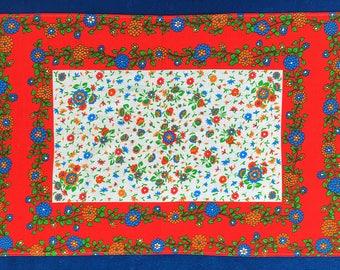 Vintage 70's Hand Printed Tea Towel - Red Flowers