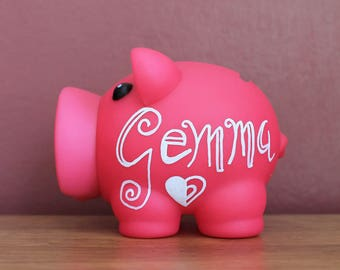 Fuchsia Personalised Piggy Bank Bespoke Money Box for Savings / Hand Illustrated Fun Artisan Gift for Her / Kids / Newborn