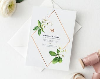 White Floral Wedding Invitation Suite Deposit - Chic White Flowers with Copper Foil Detail & Monogram Wedding Invitation