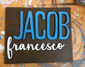 18 x 18 Square Custom Name Handmade Wood Sign / Hand-Cut Name Sign / Custom Name Wood Sign / Nursery Decor / Nursery Name Sign / Kids Room