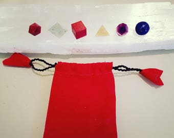 Chakra 3/4 in platonic solid set in red pouch