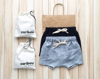 kid and baby linen shorts | gray
