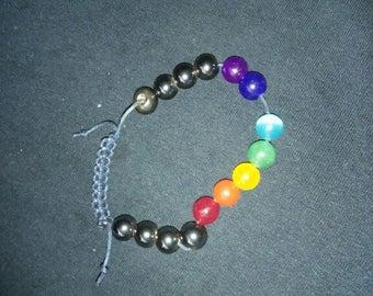 Chakra bracelet with magnetic hematite