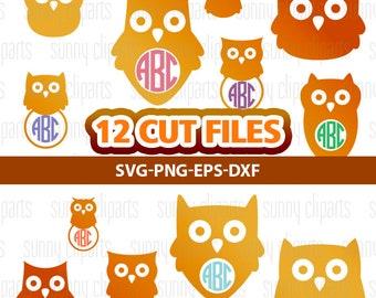 Owl Monogram Svg, Owl Svg File, Owl Clipart, Owl Monogram Decal, Owl Vinyl Decal, Silhouette Cameo Files, Circle Monogram Svg, Svg Bundle
