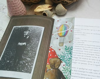 "Bookmarks handmade ""Clementine contemplates"" Collection ""Clémentine"" Bookmark Art drawing print"