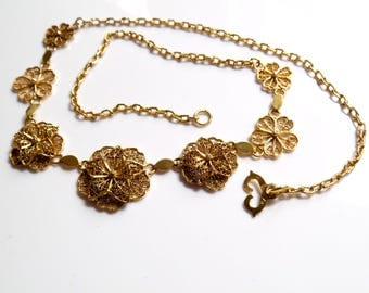 Vintage filigree 12k solid yellow gold necklace