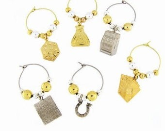 Gambler Drink Charms, Wine Glass Charms