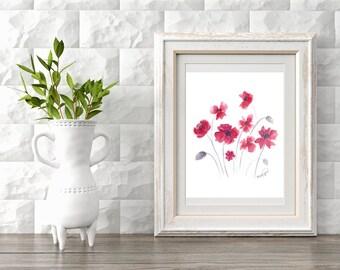 Watercolor red flowers original  print