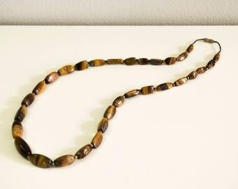 Tiger eye jewelry necklace. Stone jewelry necklace.