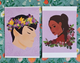 2 x art prints, Spock & Nyota Uhura, fanart Star Trek, illustrations,