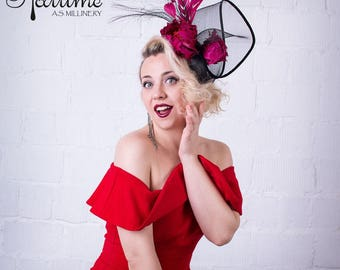 Coctail feathered fascinator hat Bordo - Ascot hat - Race hat - Red Fascinator - Bordo hat - wedding hat