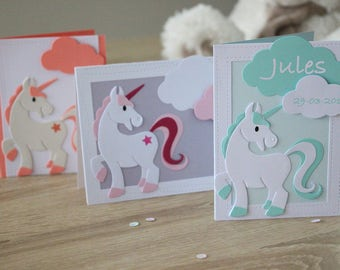 Share card congratulations, baptism, welcome customizable baby Unicorn