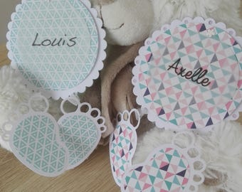 To share birth or baptism round customizable - small feet