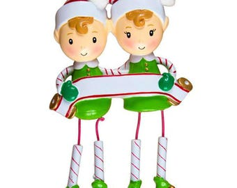 Dangling Elf Family of 2 Unique Personalized Christmas Ornament + FREE SHIPPING! (Best Friends, CoWorkers, Sisters)
