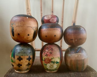 Vintage Kokeshi Wooden Doll Family