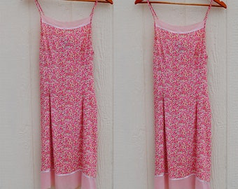 90s Floral Spaghetti Strap Dress • Spring Dress • Floral Dress • Flower Dress • Pink Dress • Girly Dress • Summer Dress • Sun Dress
