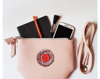 PINK clutch/ cross body bag with an artistic nipple