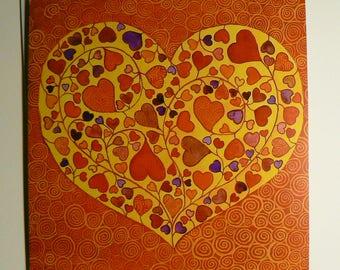 Orange heart, card