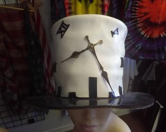 Broken Clock Leather Top Hat
