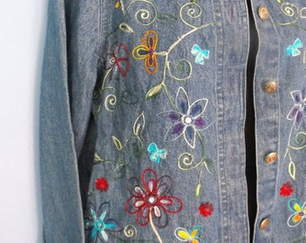 Upcycled Refashioned Boho Denim Jacket size 5/6 Hippie Stevie Nicks