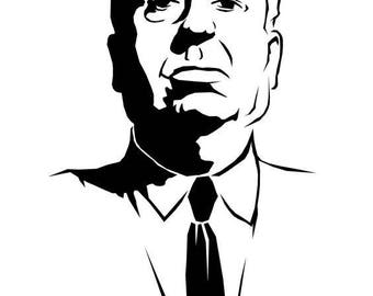 Alfred Hitchcock Horror Vinyl Car Decal Bumper Window Sticker Any Color Multiple Sizes