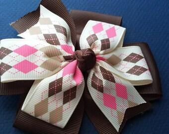 Brown and Pink Argyle Pinwheel Bow