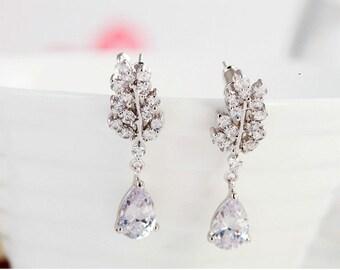 Crystal bridal drop earrings