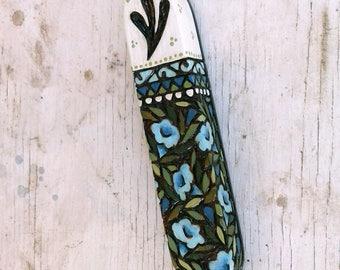 Blue Flowers Mezuzah, Wooden Mezuzah case, Jewish art, Jewish gift, Judaica item, Pyrography art, wood burning art