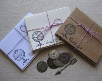 6 Handmade vintage globe blank thank you notecard set