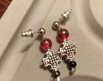 Rainbow multi-colored beaded cross dangling earrings