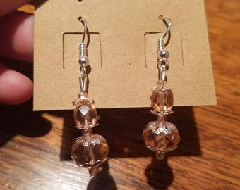 Rose and Silver Crystal Drop Earrings