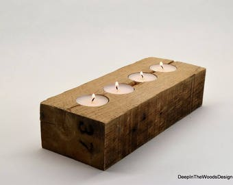 Tealight Holder - Large Rustic Reclaimed Pallet Wood Tealight Holder - Rustic Home Décor