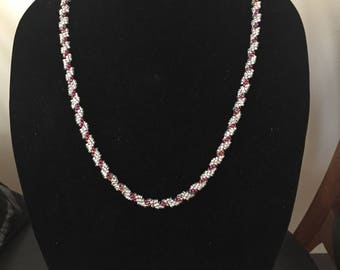White and Raspberry Spiral Necklace
