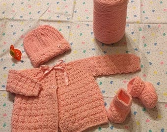 Baby Girl Sweater, Hat and Booties