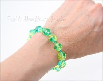 LIME GREEN & AQUA bracelet- lime green glass, aqua glass beads, glass bead bracelet, turquoise glass bead bracelet