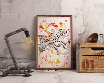 Orange Splatter Squid Print.