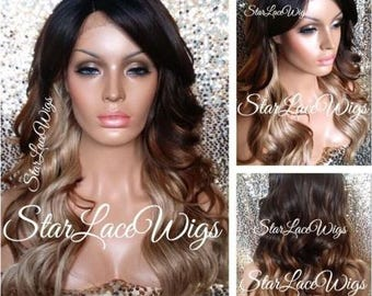 Long Brown Auburn Blonde Wavy Ombre Lace Front Wig - Layers - Bangs - Side Part - Heat Resistant Safe