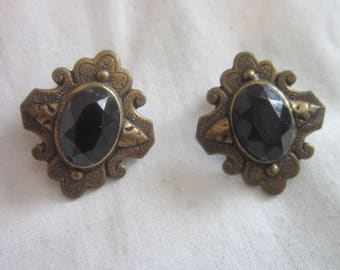 Antique Victorian with Faceted Black Glass Medallion made into Clip on Earrings