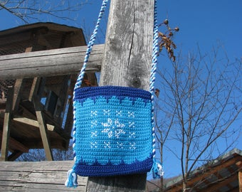 Unique crochet Snowflake purse, crochet tote bag, crochet purse, eco-friendly crochet, shipping free, cross stitch decoration