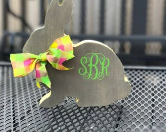 Monogrammed Bunny, Personalized Bunny, Wooden Bunny, Easter Bunny, Rabbit