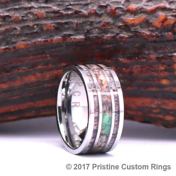 Antler Camo Mens 10mm Tungsten Wedding Band