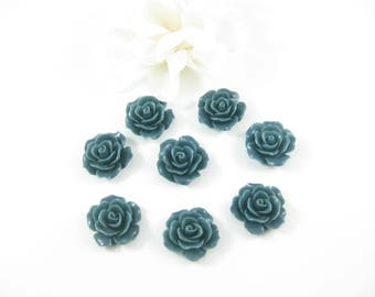 8PC- Resin Rose Flower Cabochon, Dark Green Flat Back Resin Flower 18mm Jewelry Making Supplies