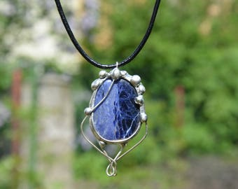 Sodalite pendant/ soldered jewelry/ necklace/ tiffany