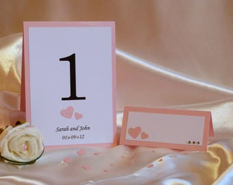 Personalised wedding table numbers - set of 10 - handmade with hearts & diamantes - includes 9 number cards and Top Table card.