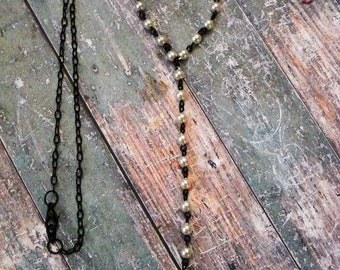 Pearl Rosary Chain Lariat Necklace
