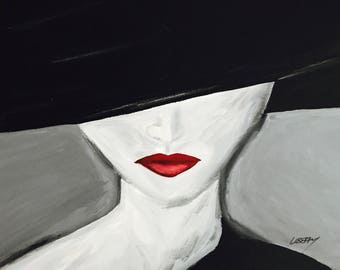 Hand painted canvas acrylic art painting, black, white, color splash, modern art, canvas painting