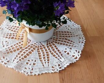 """Hand crochet doily 12"""" (30 cm) white 100% lace cotton/crochet doilies/lace doilies/table decorations/place mat/crochet table mat"""