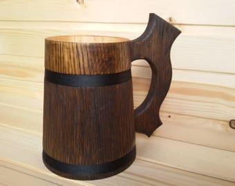 Wooden beer mug 0.6 l (20 oz)  Personalized dark oak tankard Stein for drinks Gift for boyfriend him Groomsmen Wedding Father's Day gift