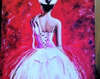 Oil painting Ballerina. Ballroom dancing painting. Oil wall art. Oil wall dcor.